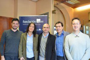 Juanma Ferrando (Tresorer), Ma. Amparo Tomàs (Secretària), Abel Puig (President), Ramon Ahulló (Tesi Doctoral sobre el Mestre Serrano i soci) i Ramon Canut (Expresident)